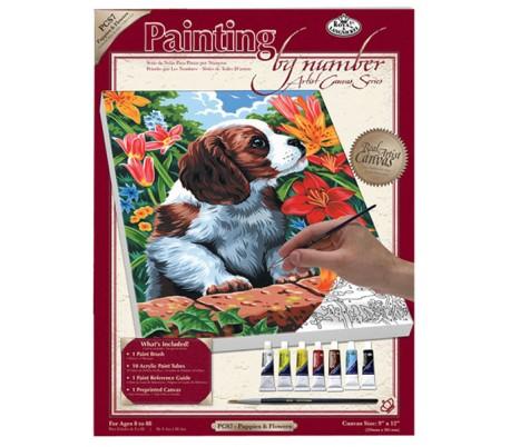 ערכת ציור לפי מספרים - כלבלב בגינה
