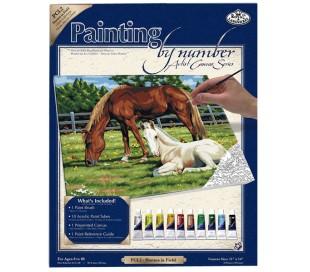 ערכת ציור לפי מספרים גדולה - סוסים