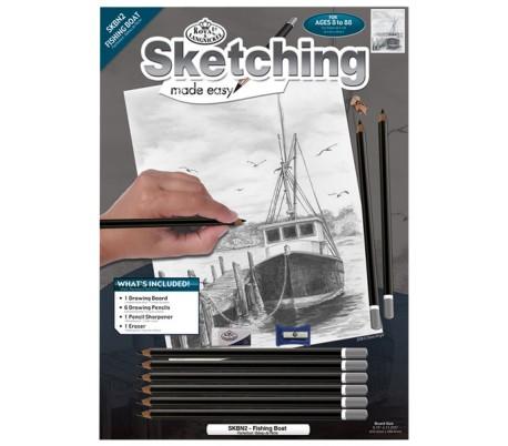 ערכת רישום בעפרונות פחם - סירת דייגים