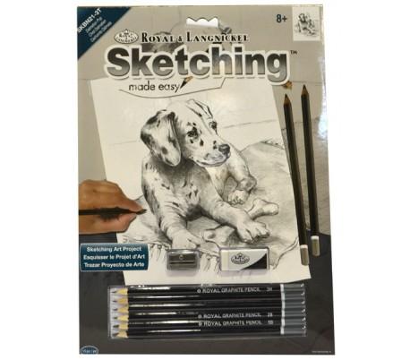 ערכת רישום בעפרונות פחם - כלב דלמטי
