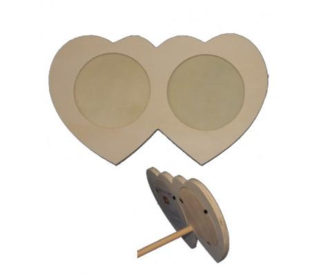 מסגרת תמונה מעץ - לב כפול