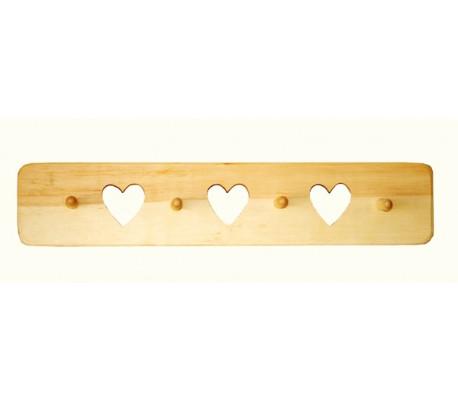קולב עץ עם לבבות