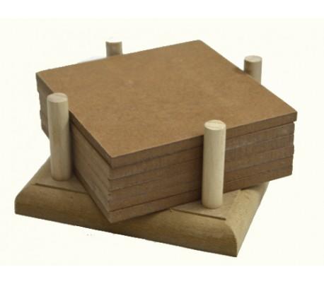 סט 6 תחתיות עץ מרובעות לכוסות