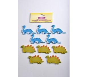 חיתוכי עץ דינוזאורים 10 יח