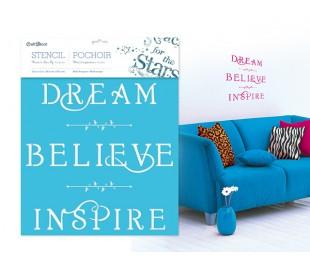 """משפטי השראה - לחלום, להאמין, לשאוף שבלונה 30*30 ס""""מ"""