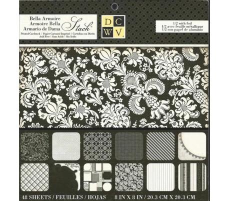 מארז 48 דפי עיצוב עבים בגודל 20X20 סמ - עיצובים בשחור ולבן