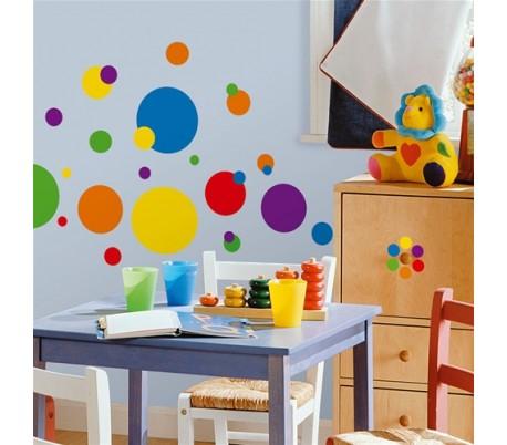 מדבקות קיר עיגולים צבעוניים