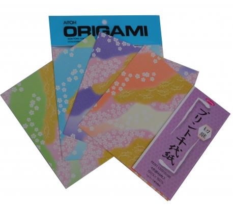 נייר אוריגמי הדפס צ'יוגמי פרחוני