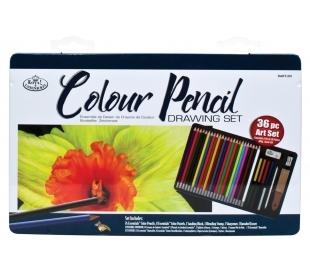 סט תוצרת רוייאל לציור בעפרונות וגירי צבע 36 יח'