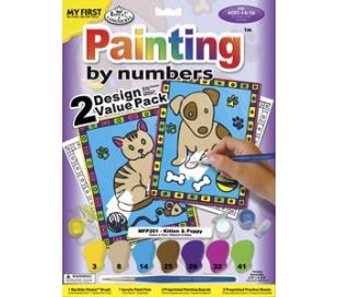 ערכת ציור עם 2 ציורים - כלב וחתול
