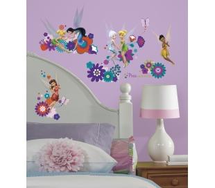 מדבקות קיר טינקרבל והפיות משחקות בפרחים