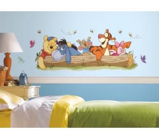מדבקת קיר ציורית של פו הדב וחבריו ביער
