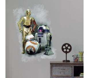 מדבקת קיר של הרובוטים C3PO R2D2 מלחמת הכוכבים  7