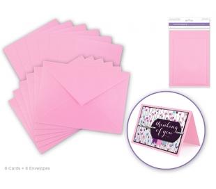 ורוד בייבי  - A6  סט של 6 כרטיסי ברכה ומעטפות חלקות
