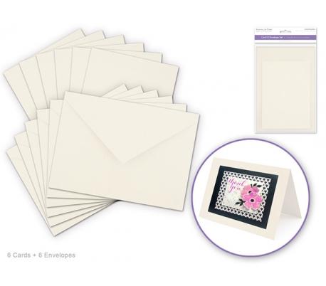 סט 6 כרטיסי ברכה ומעטפות חלקות - קרם