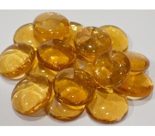 אבני זכוכית - נגצים גדולים גוון דבש שקוף 200 גרם