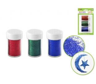 נצנצים במארז כחול / ירוק / אדום