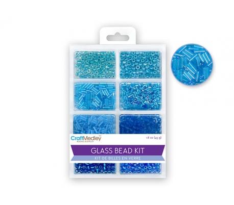 חרוזי זכוכית 8 סוגים - כחולים