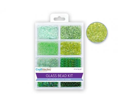 חרוזי זכוכית מותאמים 8 סוגים - ירוקים