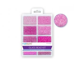 חרוזי זכוכית סט 8 סוגים - ורודים