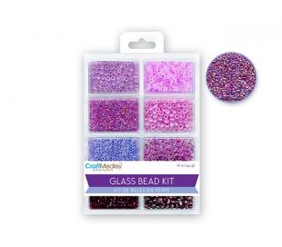 חרוזי זכוכית סט 8 סוגים - ורוד/סגול