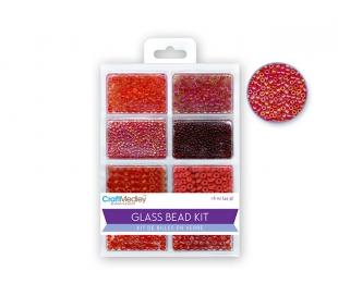 חרוזי זכוכית סט 8 סוגים -אדומים