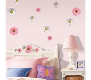 מדבקות קיר פרחים בורוד ולבן