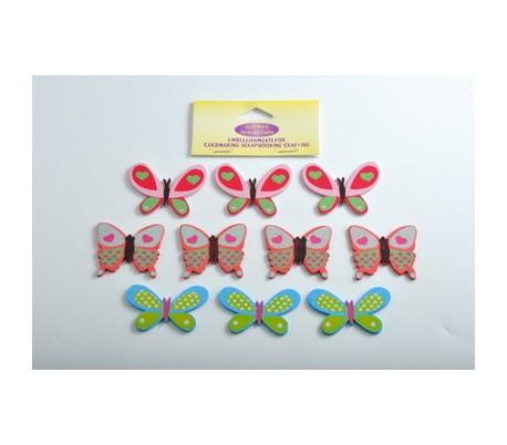 חיתוכי עץ פרפרים צבעוניים  10 יח