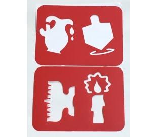סט שבלונות עם סמלים של חנוכה