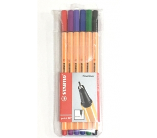 סט 6 עטי סטבילו צבעוניים ראש דק